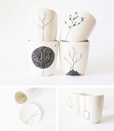 DIY - Mal på porcelæn www.frkgreve.dk tea mugs